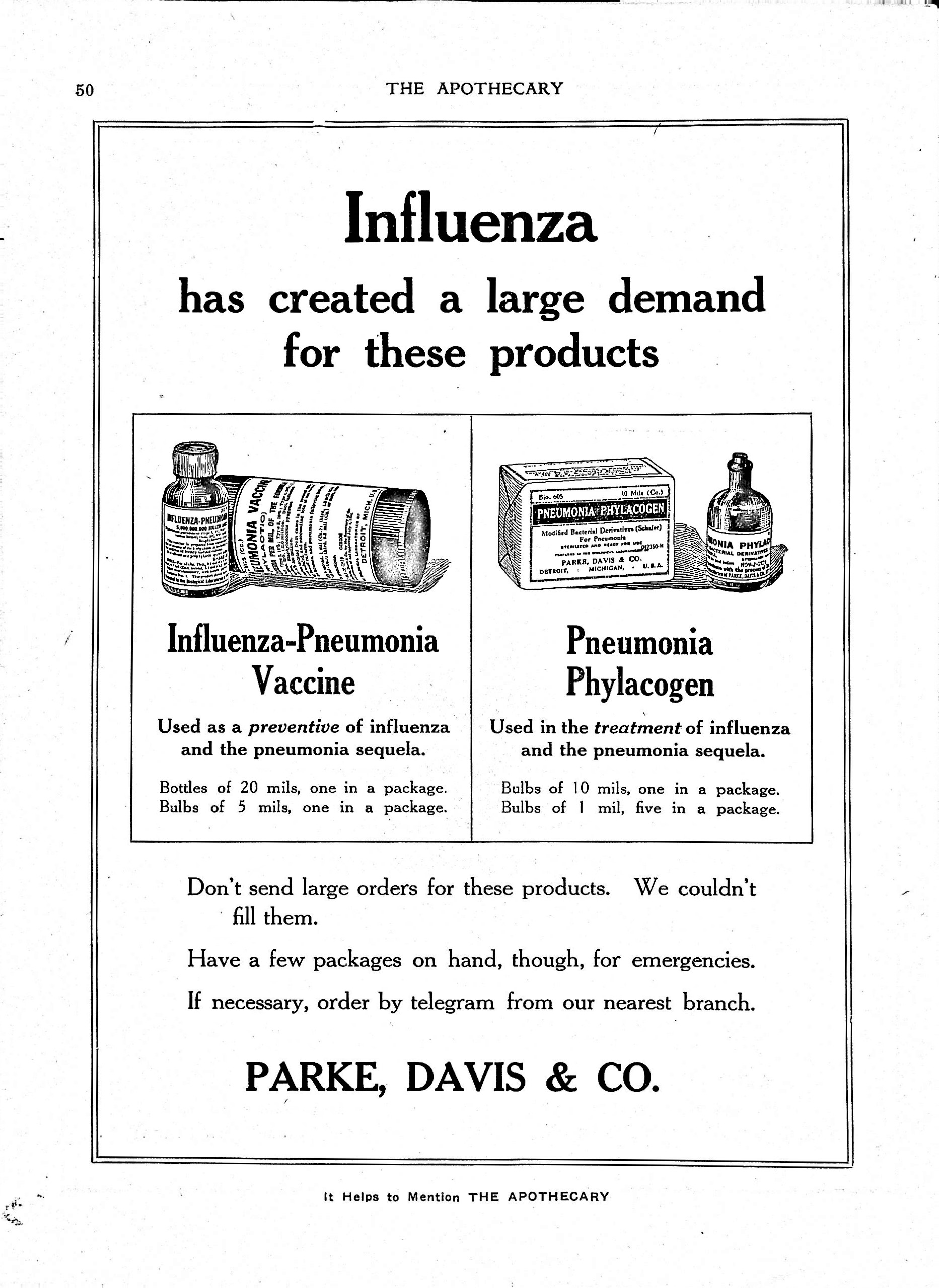 Image for Parke, Davis & Co. advertisement in The Apothecary and New England Druggist, March 1919