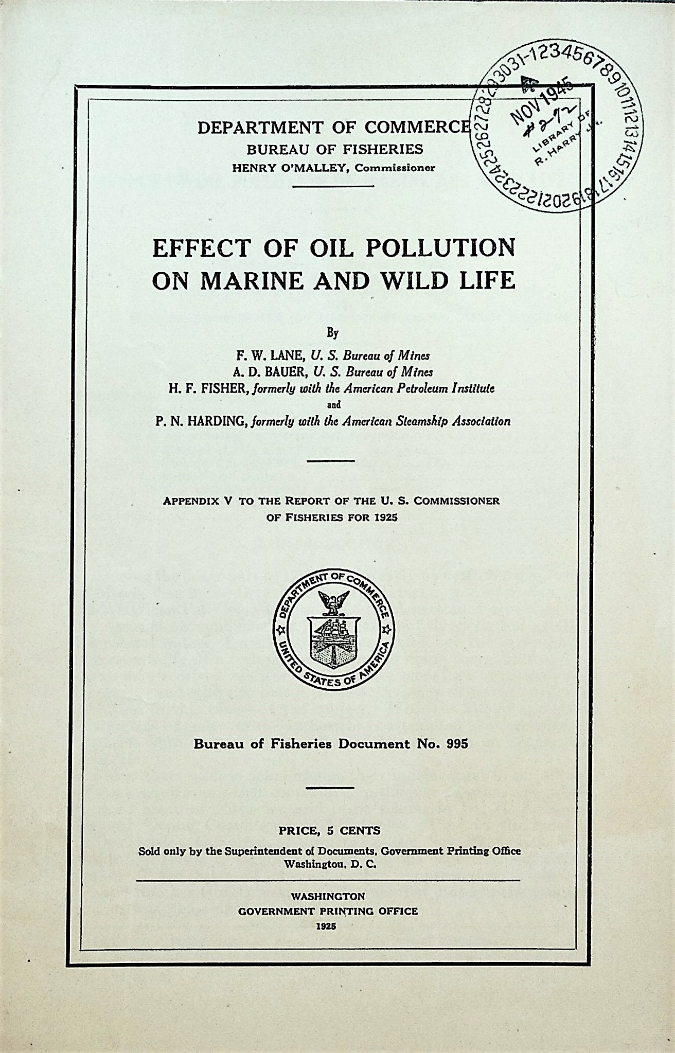 Image for Effect of oil pollution on marine and wild life