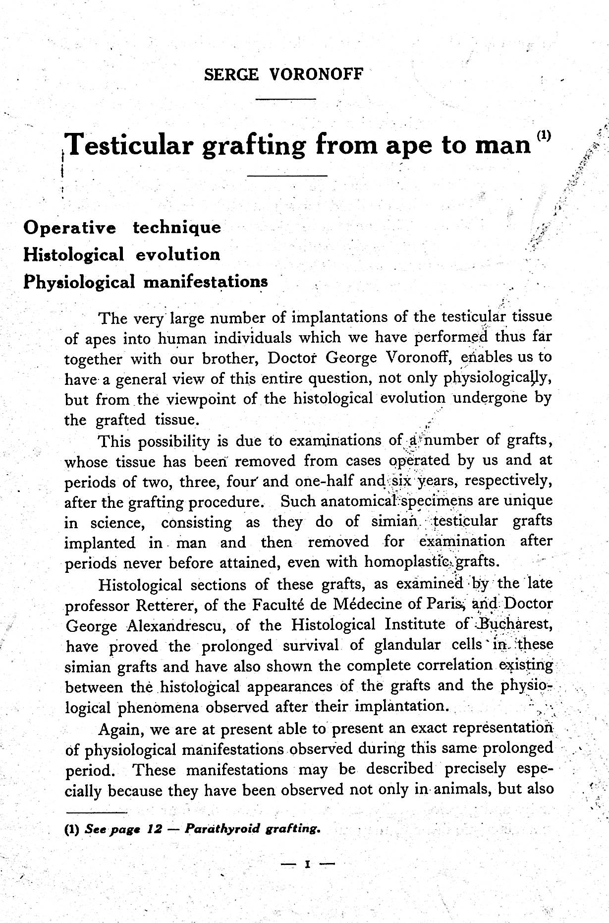 Image for 1) La greffe testiculaire. Technique operatoire, evolution histologique, manifestations physiologiques, published in Technique Chirurgicale, No 4, June 1967; 2) Testicular grafting from ape to man. Operative technique, histological evolution, physiological manifestations.