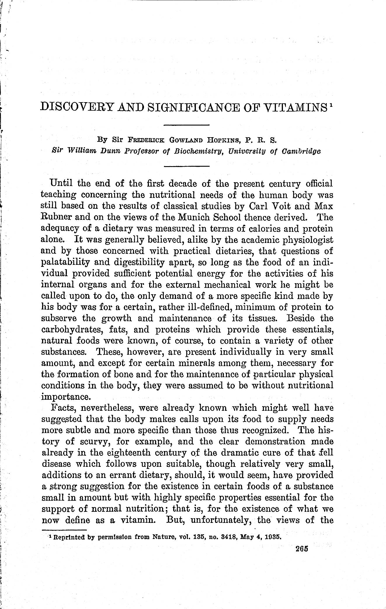 Image for Discovery and significance of vitamins (Annual Report of the Smithsonian Institution, 1935, reprinted from Nature Vol. 135, May 4, 1935)