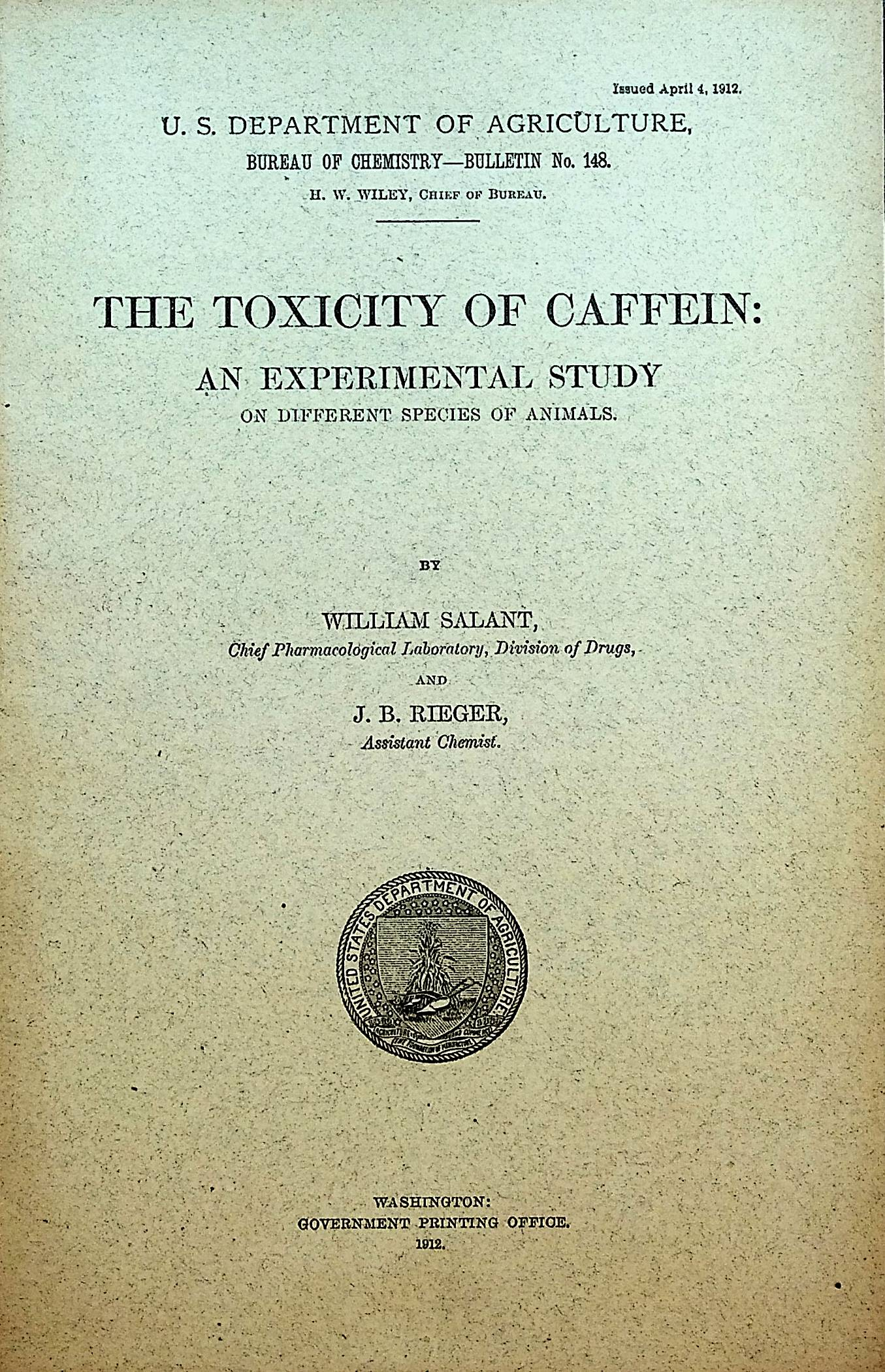 Image for The toxicity of caffein: An experimental study on different species of animals