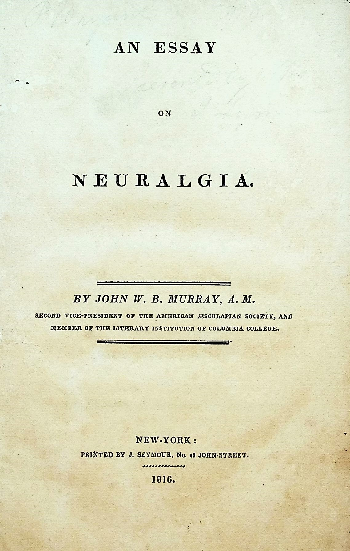 Image for An Essay on Neuralgia