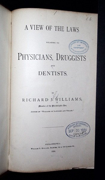 Image for A View of the Laws relating to Physicians, Druggists and Dentists