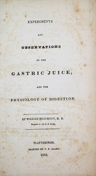 Image for Experiments and Observations on the Gastric Juice, and the Physiology of Digestion