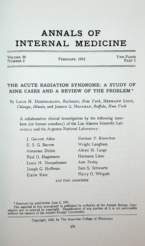 Image for The Acute Radiation Syndrome: A Study of Nine Cases and a Review of the Problem