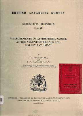 Image for Measurements of Atmospheric Ozone at the Argentine Islands and Halley Bay, 1957-72