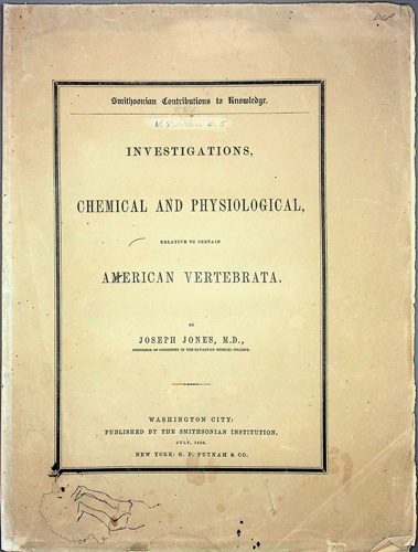 Image for Investigations Chemical and Physiological, relative to certain American Vertebrata