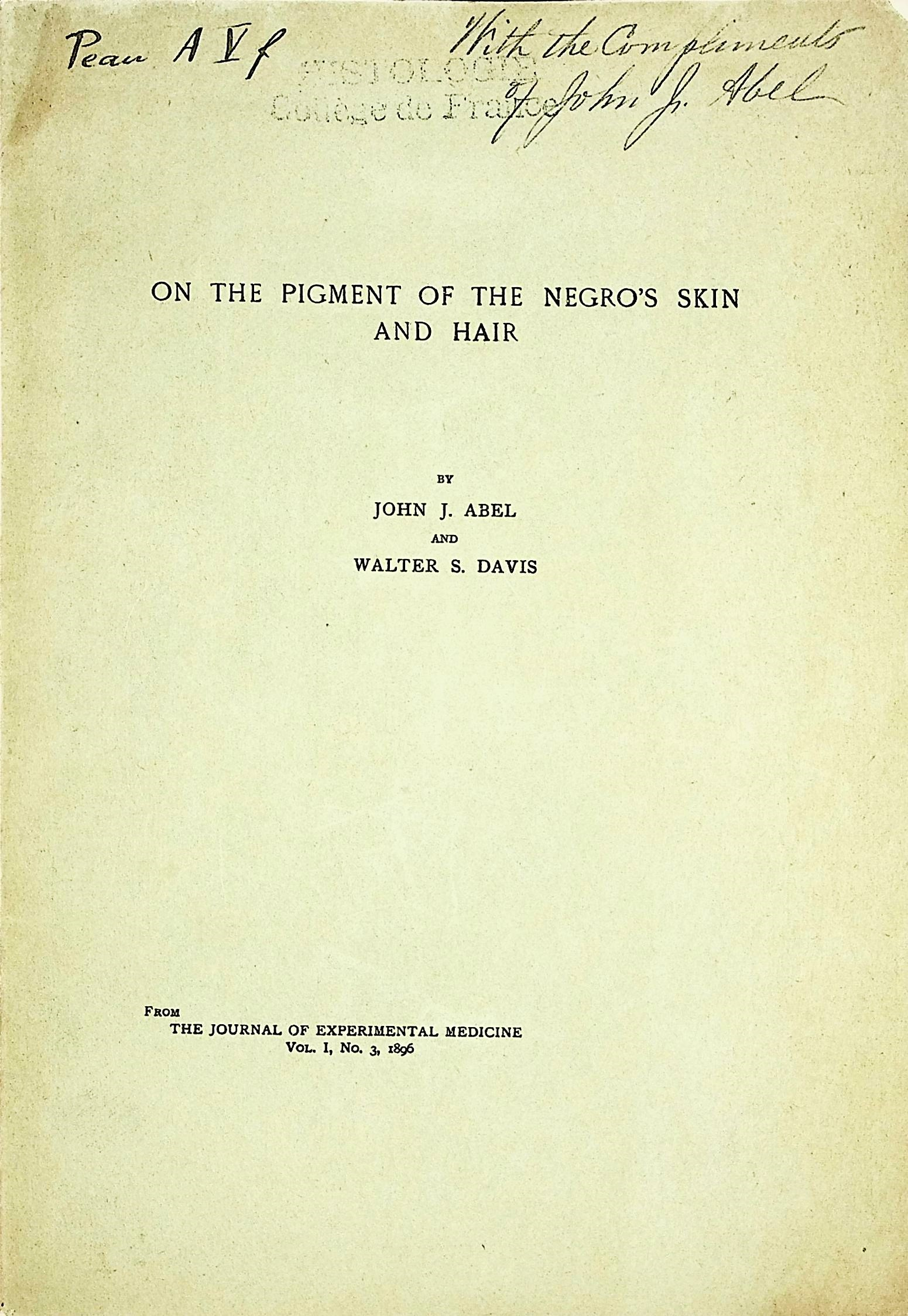 Image for On the pigment of the Negro's skin and hair