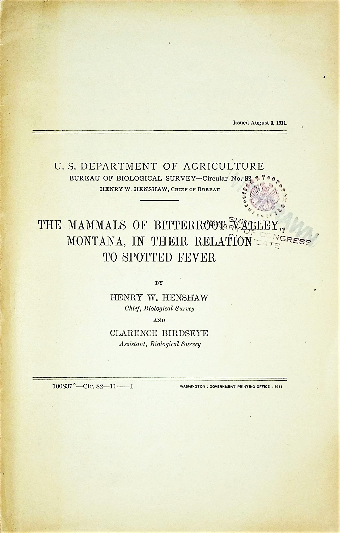 Image for The mammals of Bitterroot Valley, Montana, in their relation to spotted fever, Bureau of Biological Survey Circular No. 82